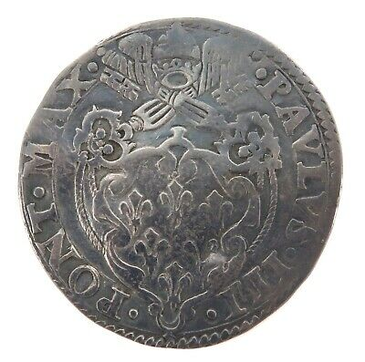 Rare 1534 - 1549 Papal States 1 Silver Giulio. Rome Mint, Pope Paul Iii