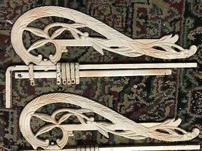 Pair Antique Cast Iron Swing Away Curtain Rods
