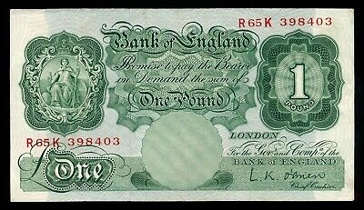 Bank of England L.K. O'Brien 1 Pound Note 1955-60 Crisp VF+