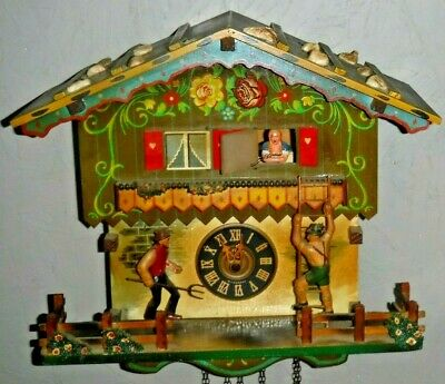 Farmers Daughter Eloping, Musical, Animated,3 Wt. Cuckoo Clock Complete As-Found