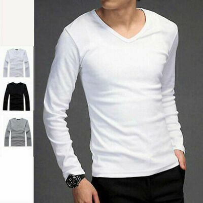 Fashion Men's Shirts V-Neck Long Sleeve Casual T-Shirt Slim Fit Cotton Tee Tops