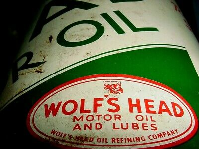1940s Vintage WOLF'S HEAD MOTOR OIL Old 5 qt Tin Oil Can