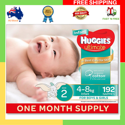 Huggies Ultimate Nappies Unisex Size 2 Infant 4-8kg 192 Count One Month Supply