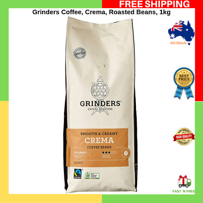 Grinders Coffee Crema Roasted Beans 1kg Manufactured in Australia 100% Arabica