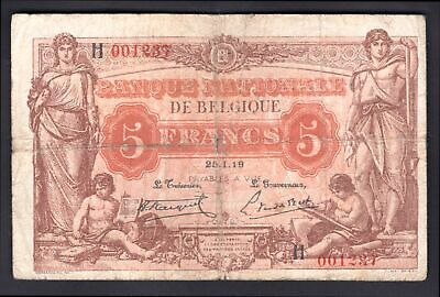 Belgium: National Bank. 5 francs. 25.1.19. H 001237. (Pick 74b). GF.