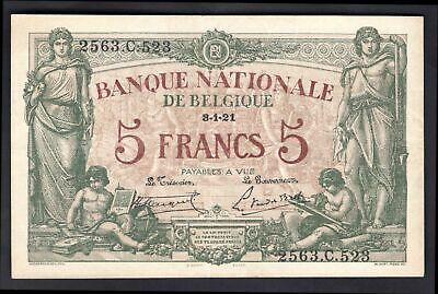 Belgium: National Bank. 5 francs. last date. 3.1.21. 2563.C.523. (Pick 75b). VF.