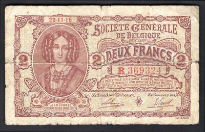 Belgium: National Bank. 2 francs. 22.11.16. R.369324 (Pick 87). VG.
