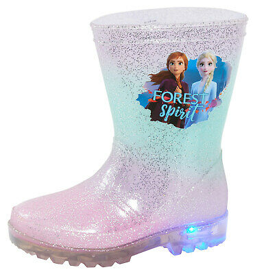 Disney Frozen 2 Girls Light Up Wellington Boots Elsa Anna Flashing Snow Wellies