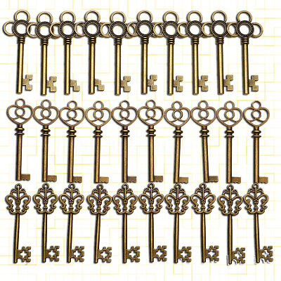 30pcs Large Skeleton Keys Antique Bronze Vintage Old Look Wedding Decor Keys 🔥