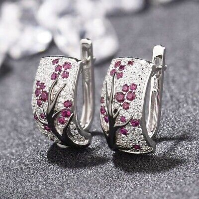 Charming Sparkle Garnet Gems Floral Silver Earrings Rings Size 6-11 Jewelry Set