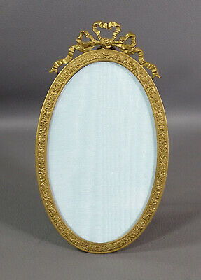 Antique Victorian Ormolu Bronze Ornate Oval Picture Frame Bow Ribbon Easel Back