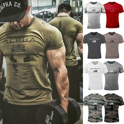 ALPHA Men's Gym T-shirt Muscular Fitness Bodybuilding Outdoor Jogging 3 Color pv