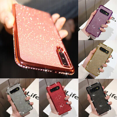 For Samsung A70 A50 A40 Case Glitter Diamond Crystal Slim Plating Silicone Cover