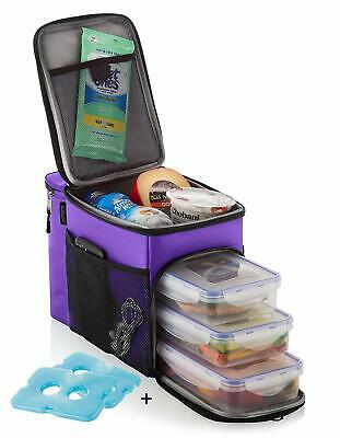 ZUZURO Lunch box Insulated cooler bag w/ 3 compartment - Includes 3 Meal Prep