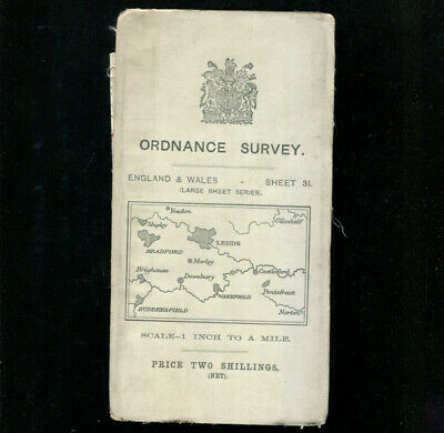 Leeds Huddersfield Ordnance Survey Map Large Sheet Series c1910