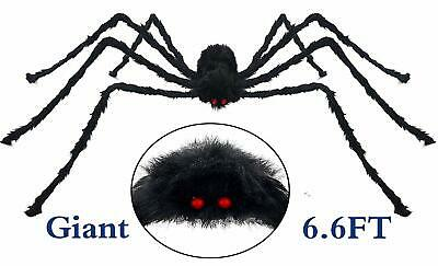 6.6 FT GIANT SPIDER HALLOWEEN DECOR Outdoor Yard Garden Haunted House Scary Prop
