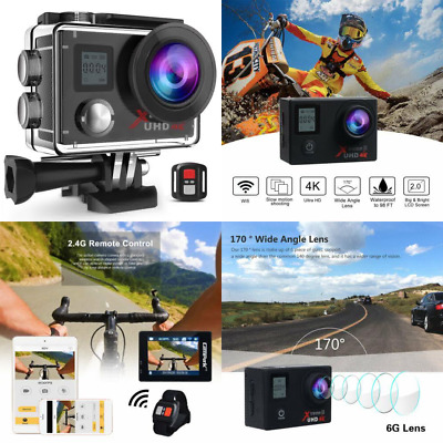 "Campark Action Camera Waterproof 4K Wifi Sport Cam 2"" LCD Screen 170° Wide Angle"