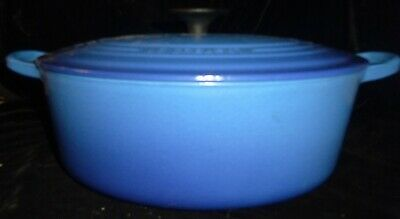 Le Creuset Cast Iron Enamel 5 Qt Oval Dutch Oven #29 Marseille Blue Ex Cond