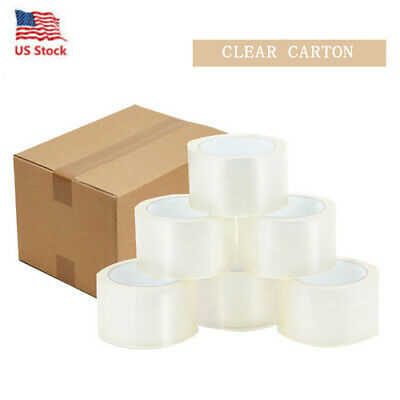 18 Rolls Carton Sealing Clear Packing Tape Box Shipping - 2 mil Thickness