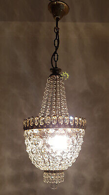 Antique Vintage Brass & Crystals French Chandelier Lighting Ceiling Lamp 1950's