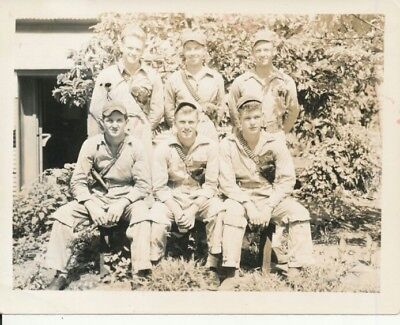 WWII 1945 US Navy airman's ✈ airplane & group photo #9 armed