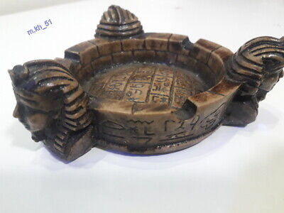 antique ashtray ancient egyptian king tut stone carved handmade