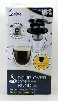 Java Concepts Pour Over Coffee Bundle, Keurig, iCoffee Compatible, Brewer & Cups