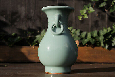 Antique Chinese 19th / 20th Century Pale Celadon Glazed Vase Masks Mark to Base