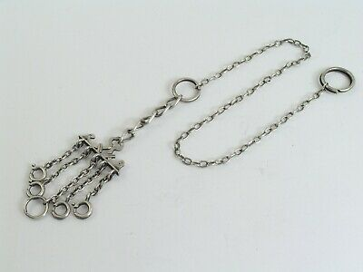 Chatelaine / All Silver / Frame Bar with Chains & Bolt Rings / Vintage