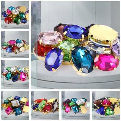 Mixed Colors Glass Crystal Rhinestones Sew On Flatback Claw Craft Beads lot