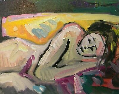 """Jose Trujillo Oil Painting 16X20"""" Nude Sleeping Woman Modernism Abstract Signed"""