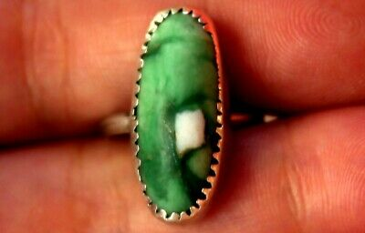 Old Navajo Sterling Silver & Unusual Green Stone With White Stone Embedded Ring