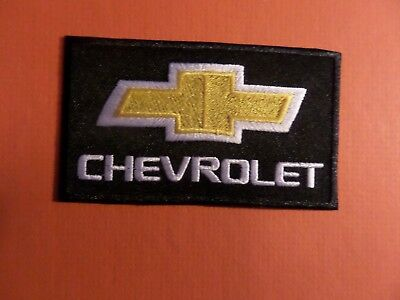 """"""" CHEVROLET""""  white & black & yellow Embroidered 2-1/8 x 3-3/4 Iron On Patch"""