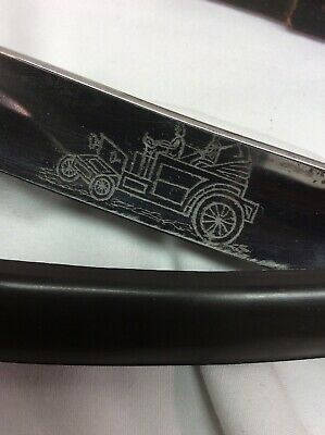 Imperial Straight Edge Razor w Auto Car Steam Buggy Carriage Etching Antique