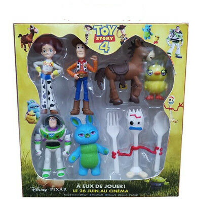 7PCS Toy Story 4 Action Figure Toy Woody Buzz Lightyear Jessie forky Doll B17A