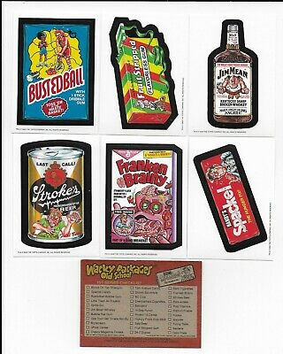 WACKY PACKAGES Old School Series 1 Set  (33 Stickers plus 9 Checklist Cards)