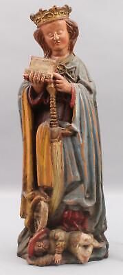 Antique German Hand Carved Painted Wood Mary & Sword Christian Religious Santos