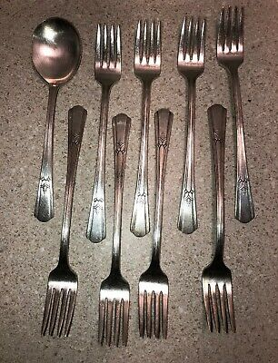 #C491 ~ Vintage 1939 Wm Rogers Mfg Co I S ~Court~ Silver plated Flatware 8 Forks