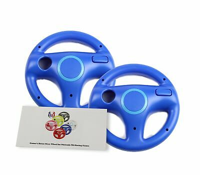 Wii Steering Wheel for Mario Kart Other Nintendo Remote Driving Games Blue 2 PK