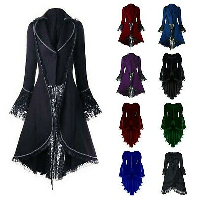 Punk Rave Womens Retro Gothic Dress Coat Jacket Long Brocade Steampunk Victorian