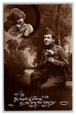 WWI RPPC My Heart Is Your's My Arm For Liberty Romantic Real Photo Postcard