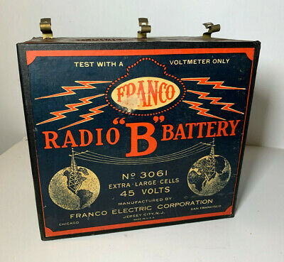 Vtg Antique 1920'S Franco Radio B Battery Extra Large Dry Cell 1924