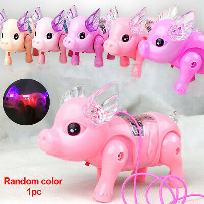 Electronic Walking Pig Musical Glow Pet Toy With Rope Development Xmas Gifts