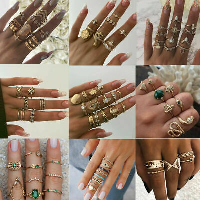 Women Bohemian Gemstone Midi Finger Caved Diamond Knuckle Rings Fashion Jewelry