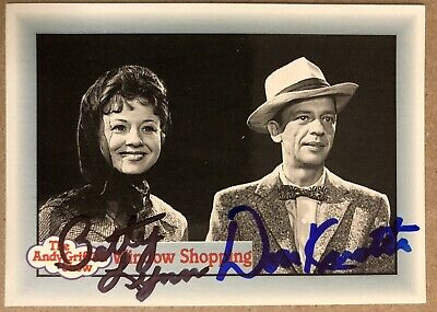 Don Knotts Betty Lynn Barney Thelma AUTHENTIC SIGNED card The Andy Griffith Show