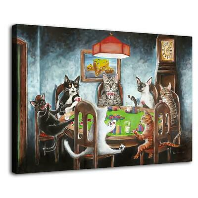 """16""""x24""""Cat Playing Cards HD Canvas prints Painting Home decor Picture Wall art"""
