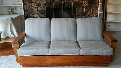 Hawaii - made koa wood hand carved sofa,  2 chairs, 2 end tables, coffee table