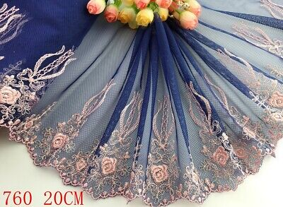 "7.5""*1yard Delicate Embroidered flower tulle Lace Trim Sewing Doll Dress DIY 760"