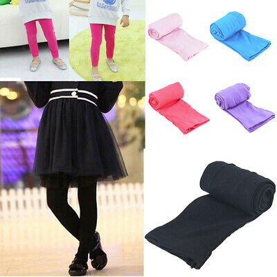 Kids Girls Winter Warm Thick Fleece Leggings Stretchy Cotton Solid Trousers Pant