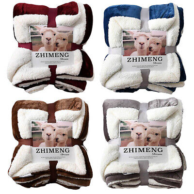 Sherpa Fleece Blanket Quality Throw Queen Twin Plush Warm Couch Bed 33